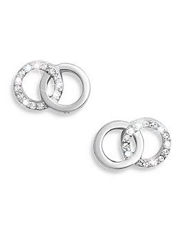 Olivia Burton Silver Bejewelled Stud Earrings