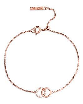 Olivia Burton Rose Gold Bejewelled Classic Interlink Bracelet with Crystal