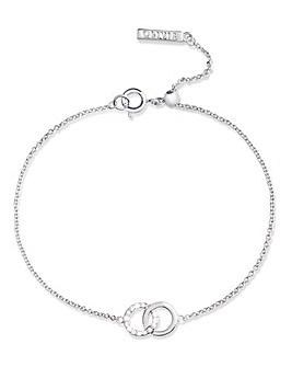 Olivia Burton Silver Bejewelled Classic Interlink Bracelet with Crystal