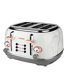 Tower 4 Slice Marble Effect Toaster