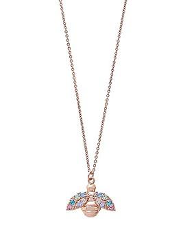 Olivia Burton Rose Gold Rainbow Bee Necklace