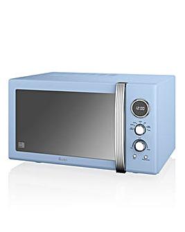 Swan 900W Retro Blue Microwave