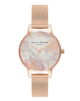 Olivia Burton Abstract Floral Rose Gold Mesh Watch