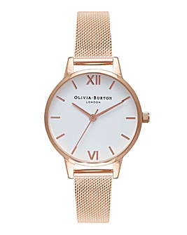 Olivia Burton White Dial Rose Gold Mesh Watch
