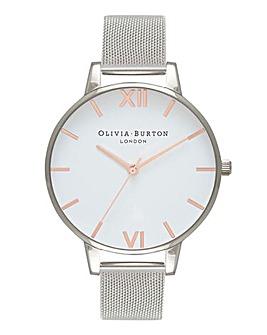 Olivia Burton Classic Silver & Rose Gold Mesh Watch