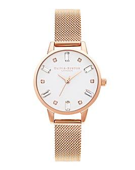 Olivia Burton Bejewelled White Dial & Rose Gold Mesh Watch