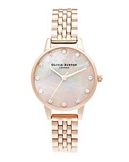 Olivia Burton MOP Screw Detail Dial Rose Gold Bracelet Watch