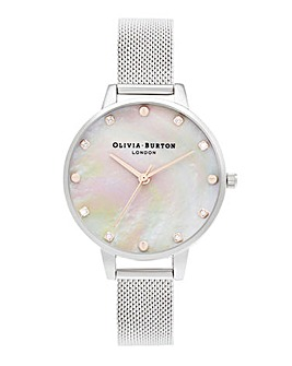 Olivia Burton MOP Screw Dial Detail Silver Mesh Watch