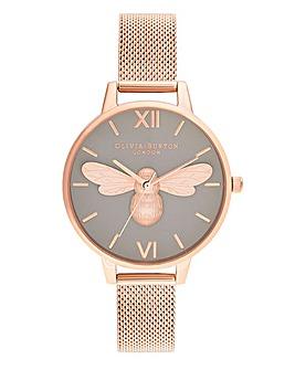 Olivia Burton Lucky Bee Rose Gold Mesh Watch