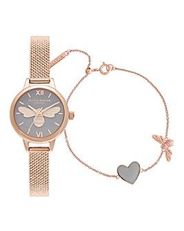 Olivia Burton Mini Dial Lucky Bee Watch & Bracelet Gift Set