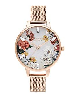 Olivia Burton Sparkle Floral Rose Gold Mesh Watch
