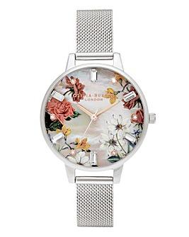 Olivia Burton Sparkle Floral Silver Mesh Watch