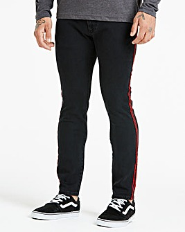 Skinny Tape Trim Black Jeans 31 in