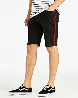 Jacamo Black Tape Side Denim Shorts
