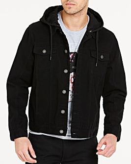 Black Hooded Denim Jacket R