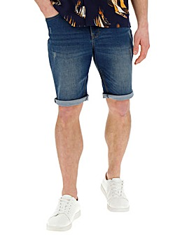 Indigo Slim Abrasion Denim Shorts