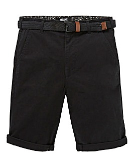 Black Belted Chino Shorts
