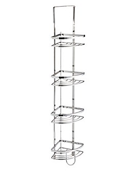 Modern Flat Chrome 4 Tier Corner Unit