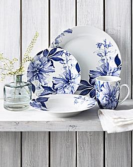 12pc Blue Floral Dinner Set