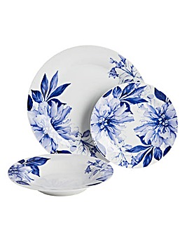 12pc Blue Floral Dinner Set