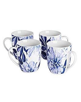 Blue Floral Set of 4 Mugs