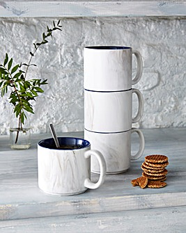 4pc Marble Stacking Mugs