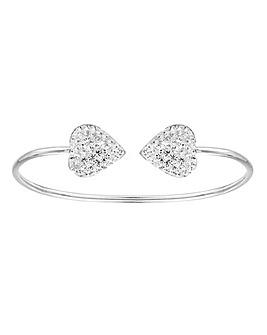 Crystal Glitz Silver Heart Bangle