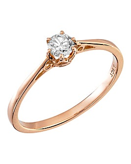 9 Carat Gold 1/4 Carat Solitaire Ring