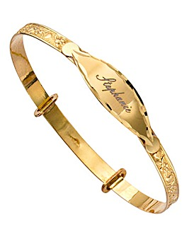 9 Carat Gold Personalised Expander Bangle