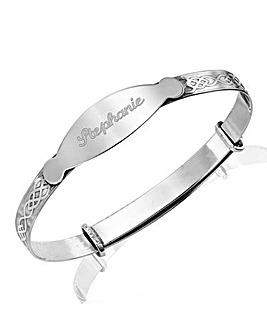 Sterling Silver Personalised Expander Bangle