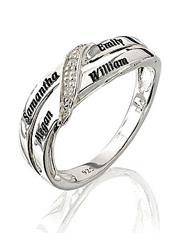 Precious Sentiments Sterling Silver & Diamond-Set Personalised Crossover Ring