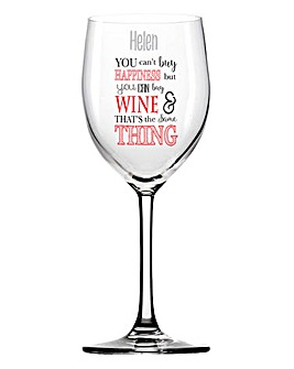 Personalised Happiness Wine Glass