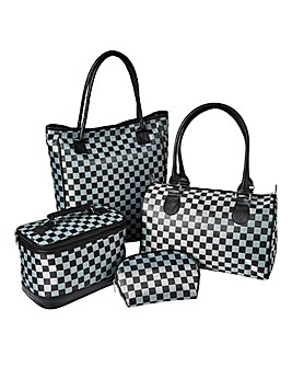 4 Piece Check Jacquard Travel Bag Set