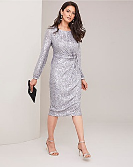 Joanna Hope Sequin Twist Knot Dress