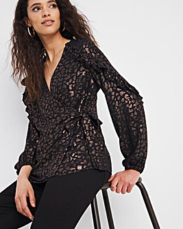 Joanna Hope Wrap Foil Blouse