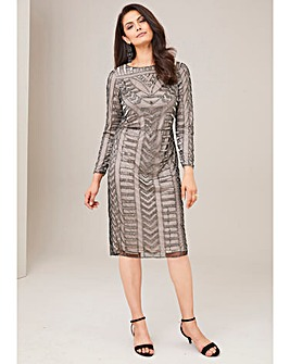 Joanna Hope Metallic Armour Beaded Shift