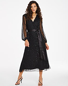 Joanna Hope Wrap Beaded Dress
