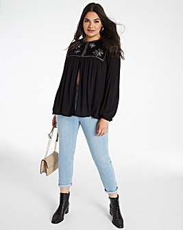 Joanna Hope Velour Embroidered Blouse