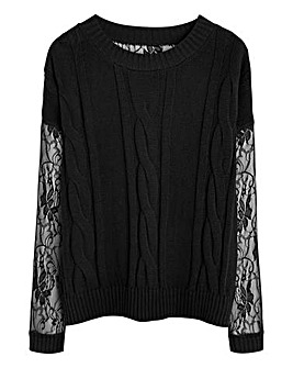 Cable Knit with Lace Jumper