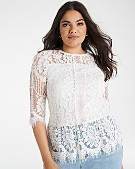 Joanna Hope Lace Peplum Blouse