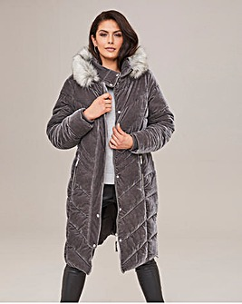 Joanna Hope Velour Padded Parka
