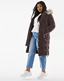 Joanna Hope Velour Padded Coat