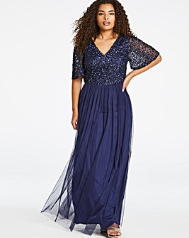 Joanna Hope V-Neck Half Beaded Dress