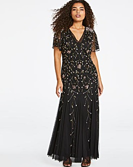 Joanna Hope Angel Sleeve Beaded Dress