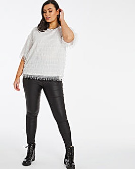 Joanna Hope Sequin Fringe Blouse