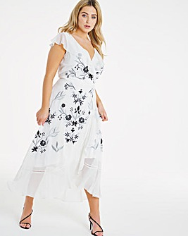 Joanna Hope Embroidered Frill Dress