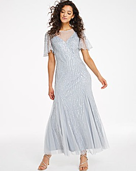Joanna Hope Sheer Yoke Beaded Maxi Dress