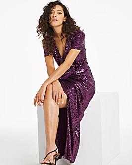 Joanna Hope Machine Sequin Twist Dress