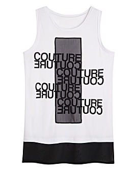 Slogan Vest with Woven Trim