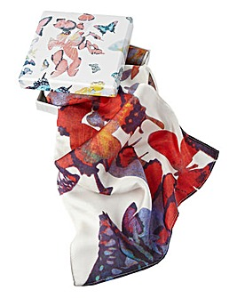 Gift Boxed 100% Silk Butterfly Scarf